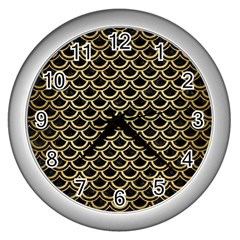 Scales2 Black Marble & Gold Brushed Metal Wall Clock (silver) by trendistuff