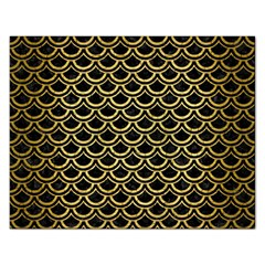 Scales2 Black Marble & Gold Brushed Metal Jigsaw Puzzle (rectangular) by trendistuff