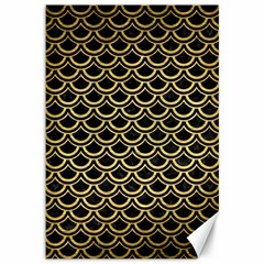 Scales2 Black Marble & Gold Brushed Metal Canvas 12  X 18  by trendistuff