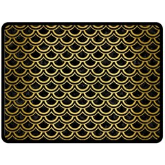 Scales2 Black Marble & Gold Brushed Metal Fleece Blanket (large) by trendistuff
