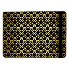 Scales2 Black Marble & Gold Brushed Metal Samsung Galaxy Tab Pro 12 2  Flip Case by trendistuff