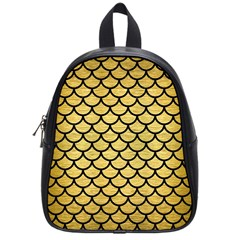 Scales1 Black Marble & Gold Brushed Metal (r) School Bag (small) by trendistuff