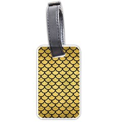 Scales1 Black Marble & Gold Brushed Metal (r) Luggage Tag (one Side) by trendistuff