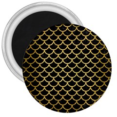 Scales1 Black Marble & Gold Brushed Metal 3  Magnet by trendistuff
