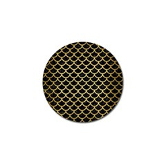 Scales1 Black Marble & Gold Brushed Metal Golf Ball Marker by trendistuff
