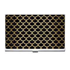Scales1 Black Marble & Gold Brushed Metal Business Card Holder by trendistuff