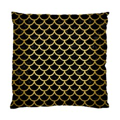Scales1 Black Marble & Gold Brushed Metal Standard Cushion Case (one Side) by trendistuff