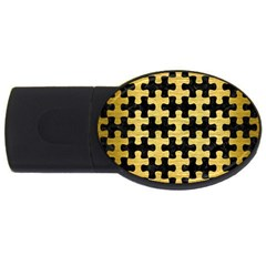 Puzzle1 Black Marble & Gold Brushed Metal Usb Flash Drive Oval (4 Gb) by trendistuff