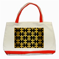 Puzzle1 Black Marble & Gold Brushed Metal Classic Tote Bag (red) by trendistuff