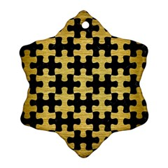Puzzle1 Black Marble & Gold Brushed Metal Snowflake Ornament (two Sides) by trendistuff