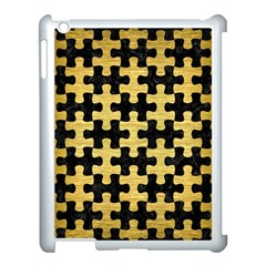 Puzzle1 Black Marble & Gold Brushed Metal Apple Ipad 3/4 Case (white) by trendistuff