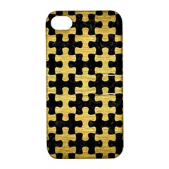 Puzzle1 Black Marble & Gold Brushed Metal Apple Iphone 4/4s Hardshell Case With Stand by trendistuff