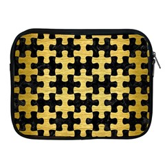 Puzzle1 Black Marble & Gold Brushed Metal Apple Ipad Zipper Case by trendistuff