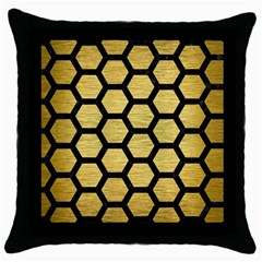 Hexagon2 Black Marble & Gold Brushed Metal (r) Throw Pillow Case (black) by trendistuff