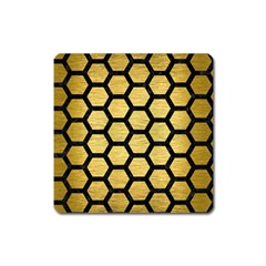 Hexagon2 Black Marble & Gold Brushed Metal (r) Magnet (square) by trendistuff