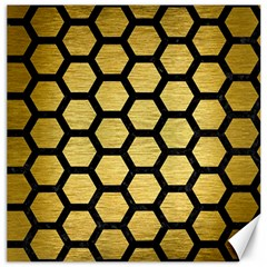 Hexagon2 Black Marble & Gold Brushed Metal (r) Canvas 12  X 12  by trendistuff