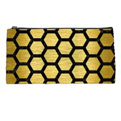Hexagon2 Black Marble & Gold Brushed Metal (r) Pencil Case by trendistuff