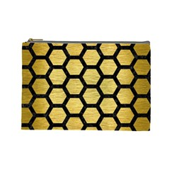 Hexagon2 Black Marble & Gold Brushed Metal (r) Cosmetic Bag (large) by trendistuff