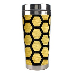 Hexagon2 Black Marble & Gold Brushed Metal (r) Stainless Steel Travel Tumbler by trendistuff