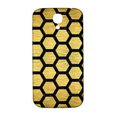 Hexagon2 Black Marble & Gold Brushed Metal (r) Samsung Galaxy S4 I9500/i9505  Hardshell Back Case by trendistuff