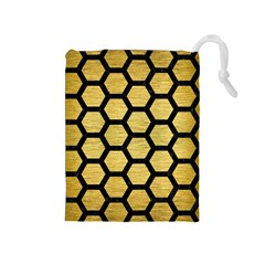 Hexagon2 Black Marble & Gold Brushed Metal (r) Drawstring Pouch (medium) by trendistuff