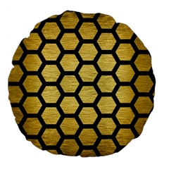 Hexagon2 Black Marble & Gold Brushed Metal (r) Large 18  Premium Flano Round Cushion  by trendistuff