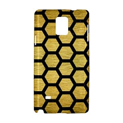 Hexagon2 Black Marble & Gold Brushed Metal (r) Samsung Galaxy Note 4 Hardshell Case by trendistuff