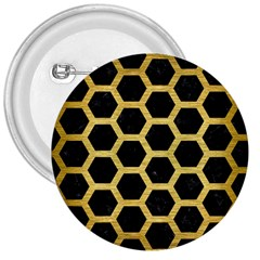 Hexagon2 Black Marble & Gold Brushed Metal 3  Button by trendistuff