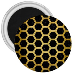 Hexagon2 Black Marble & Gold Brushed Metal 3  Magnet by trendistuff