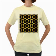 Hexagon2 Black Marble & Gold Brushed Metal Women s Yellow T Shirt by trendistuff