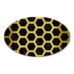 Hexagon2 Black Marble & Gold Brushed Metal Magnet (oval) by trendistuff