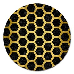 Hexagon2 Black Marble & Gold Brushed Metal Magnet 5  (round) by trendistuff