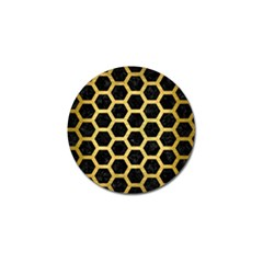 Hexagon2 Black Marble & Gold Brushed Metal Golf Ball Marker