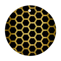 Hexagon2 Black Marble & Gold Brushed Metal Round Ornament (two Sides) by trendistuff