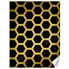 Hexagon2 Black Marble & Gold Brushed Metal Canvas 36  X 48  by trendistuff