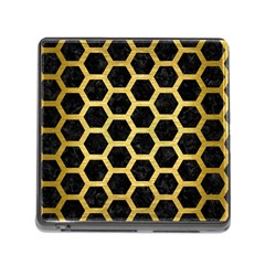 Hexagon2 Black Marble & Gold Brushed Metal Memory Card Reader (square) by trendistuff