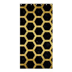 Hexagon2 Black Marble & Gold Brushed Metal Shower Curtain 36  X 72  (stall) by trendistuff