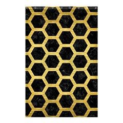 Hexagon2 Black Marble & Gold Brushed Metal Shower Curtain 48  X 72  (small)