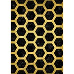 HEXAGON2 BLACK MARBLE & GOLD BRUSHED METAL Clover 3D Greeting Card (7x5) Inside