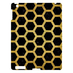Hexagon2 Black Marble & Gold Brushed Metal Apple Ipad 3/4 Hardshell Case by trendistuff