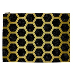 Hexagon2 Black Marble & Gold Brushed Metal Cosmetic Bag (xxl) by trendistuff