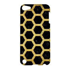 Hexagon2 Black Marble & Gold Brushed Metal Apple Ipod Touch 5 Hardshell Case