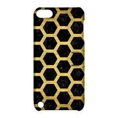 Hexagon2 Black Marble & Gold Brushed Metal Apple Ipod Touch 5 Hardshell Case With Stand by trendistuff