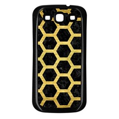 Hexagon2 Black Marble & Gold Brushed Metal Samsung Galaxy S3 Back Case (black) by trendistuff