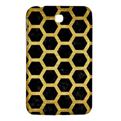 Hexagon2 Black Marble & Gold Brushed Metal Samsung Galaxy Tab 3 (7 ) P3200 Hardshell Case  by trendistuff