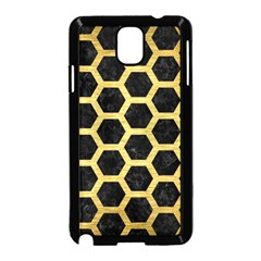 Hexagon2 Black Marble & Gold Brushed Metal Samsung Galaxy Note 3 Neo Hardshell Case (black) by trendistuff
