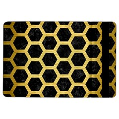 Hexagon2 Black Marble & Gold Brushed Metal Apple Ipad Air 2 Flip Case