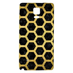 Hexagon2 Black Marble & Gold Brushed Metal Samsung Note 4 Hardshell Back Case by trendistuff