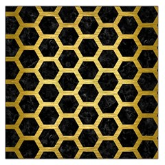 Hexagon2 Black Marble & Gold Brushed Metal Large Satin Scarf (square) by trendistuff