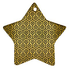 Hexagon1 Black Marble & Gold Brushed Metal (r) Ornament (star) by trendistuff